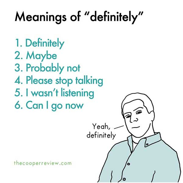 Meanings of definitely