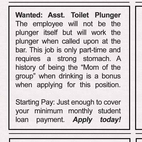 post-graduation job: plunger