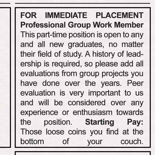 post-graduation job: group work member